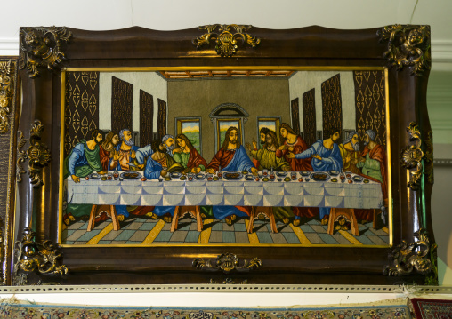 The last supper canvas sold in the bazaar, Isfahan province, Kashan, Iran