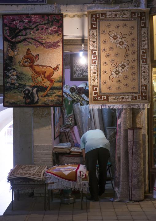 Bambi carpet in the bazaar, Isfahan province, Kashan, Iran