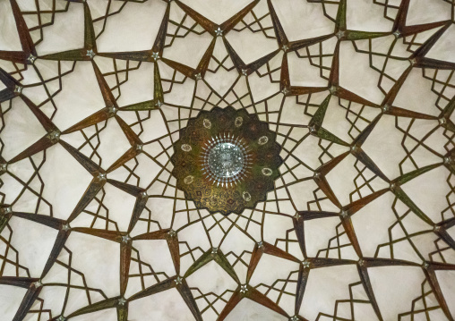 Ceiling with its intricate and elaborate patterns in tabatabaei historical house, Isfahan province, Kashan, Iran