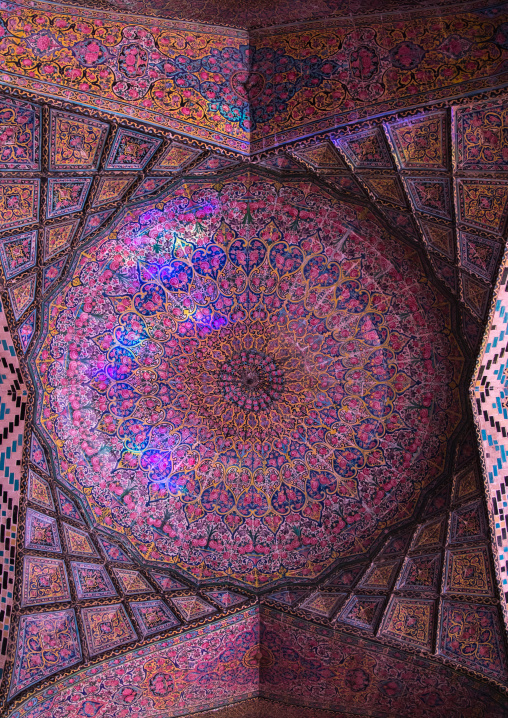 The Nasir ol Molk mosque ceiling with its beautiful colors, Fars Province, Shiraz, Iran