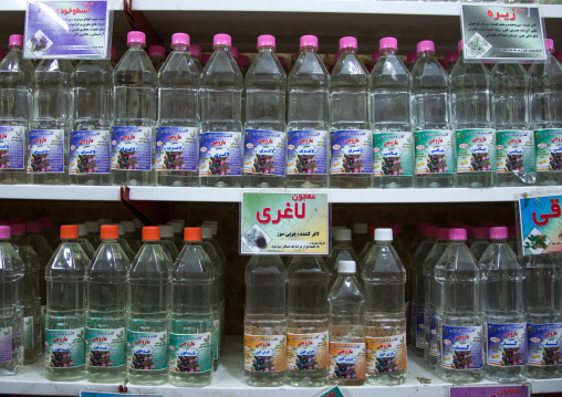 Bottles Of Rose Water In A Shop, Isfahan Province, Kashan, Iran