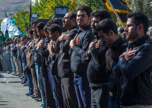 Iranian Shiite Muslim Men Celebrating Ashura, The Day Of The Death Of Imam Hussein, Kurdistan Province, Bijar, Iran