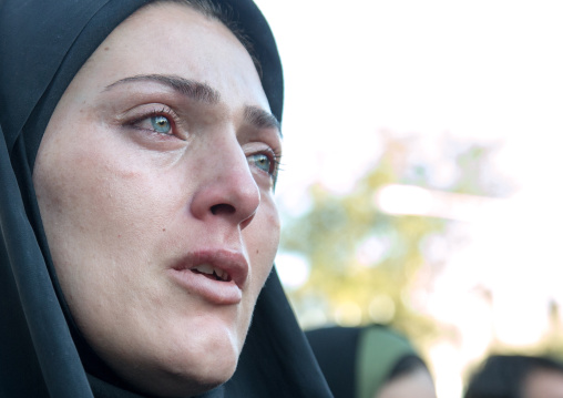 Iranian Shiite Muslim Woman Crying During Ashura Celebration, The Day Of The Death Of Imam Hussein, Kurdistan Province, Bijar, Iran