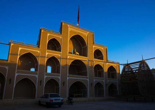A Wooden Nakhl In Front Of The Three-storey Hosseinieh , Yazd Province, Yazd, Iran