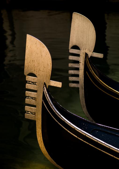Gondolas bows iron, Veneto Region, Venice, Italy
