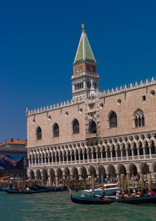 The Doge's palace and st Mark's campanile, Veneto Region, Venice, Italy