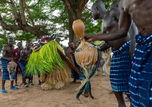 Goli sacred mask in Baule tribe during a ceremony, Région des Lacs, Bomizanbo, Ivory Coast