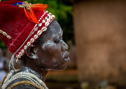 Komian woman during a ceremony in Adjoua Messouma Komians initiation centre, Moyen-Comoé, Aniassue, Ivory Coast