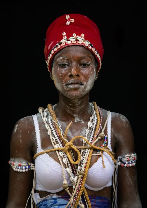Komians woman after a ceremony in Adjoua Messouma Komians initiation centre, Moyen-Comoé, Aniassue, Ivory Coast
