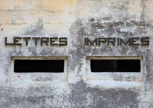 Mailbox in the former customs house, Sud-Comoé, Grand-Bassam, Ivory Coast
