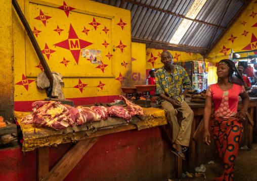 Butchery inside an african indoor market, Poro region, Korhogo, Ivory Coast