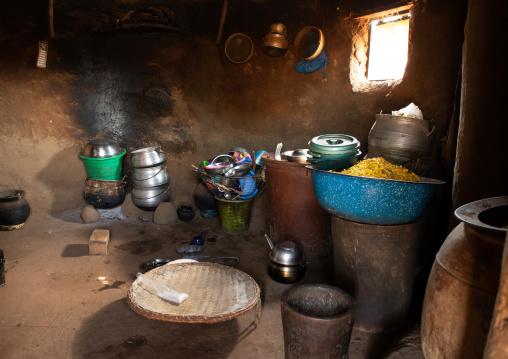 Traditional kitchen inside a hut, Savanes district, Niofoin, Ivory Coast