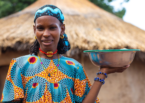 Portrait of a Peul tribe girl with a golden necklace, Savanes district, Boundiali, Ivory Coast