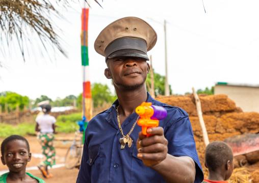 Symbolic policeman during a Poro society age-grade initiation in Senufo tribe, Savanes district, Ndara, Ivory Coast
