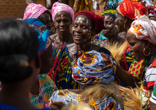 Dan tribe women celebrating the yam harvest in a village, Bafing, Godoufouma, Ivory Coast