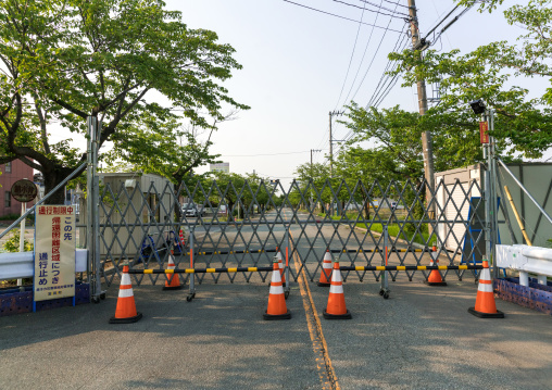 Roadblock in the difficult-to-return zone after the daiichi nuclear power plant irradiation, Fukushima prefecture, Tomioka, Japan