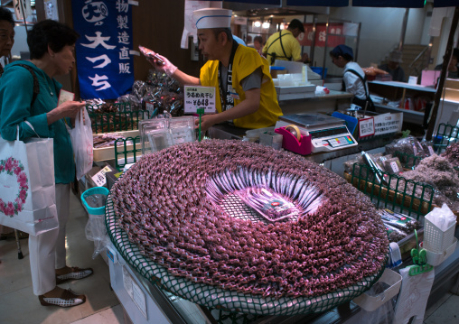 Fish seller in a supermarket, Kansai region, Kyoto, Japan