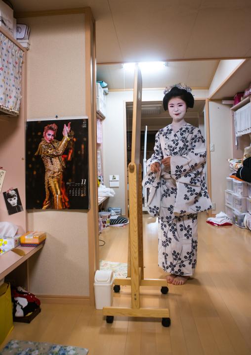 16 Years old maiko called chikasaya in her room, Kansai region, Kyoto, Japan