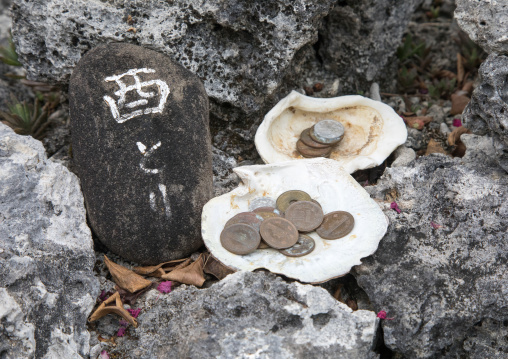 Offerings collected in shells, Yaeyama Islands, Taketomi island, Japan
