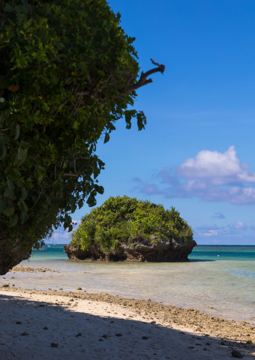 Huge rock in the tropical lagoon with clear blue water in Kabira bay, Yaeyama Islands, Ishigaki, Japan
