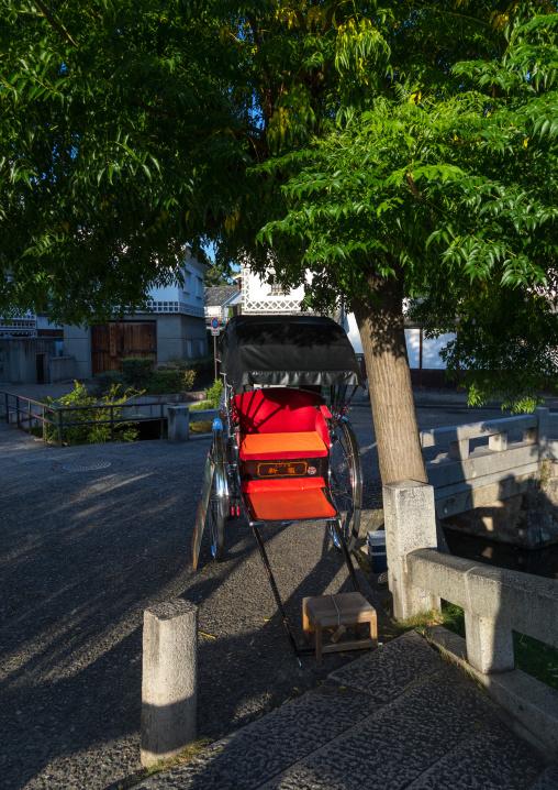 Empty rickshaw in Bikan historical quarter, Okayama Prefecture, Kurashiki, Japan