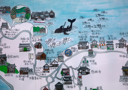 Map of the area with a whale hunting drawing, Kyoto prefecture, Ine, Japan