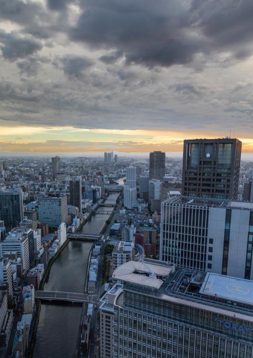 Cityscape at sunset, Kansai region, Osaka, Japan