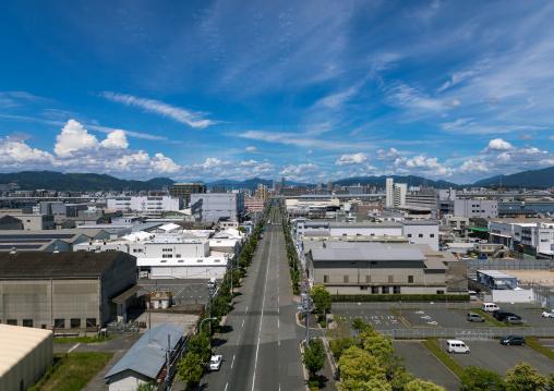 Aerial view of the cityscape, Chugoku region, Hiroshima, Japan