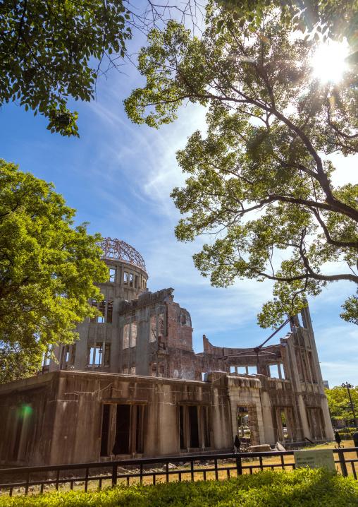 The Genbaku dome also known as the atomic bomb dome in Hiroshima peace memorial park, Chugoku region, Hiroshima, Japan