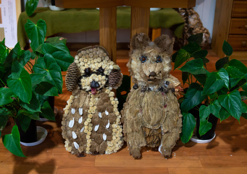 Dogs sculptures made with dried herbs and plants, Kansai region, Kyoto, Japan