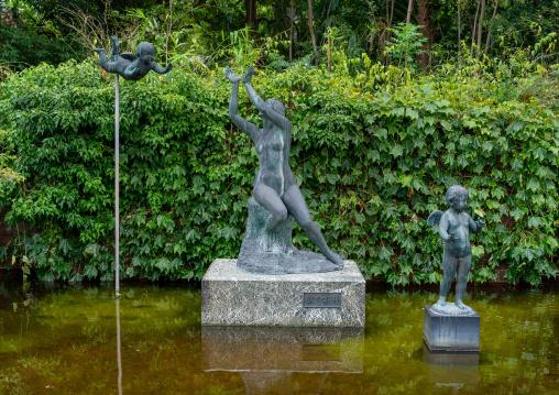 Statues in the Kyoto botanical garden, Kansai region, Kyoto, Japan