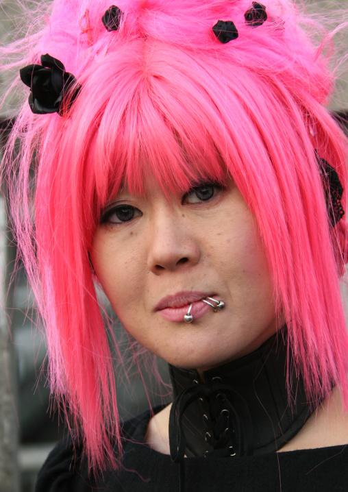 Cosplay girl with blue hair in Harajuku, Kanto region, Tokyo, Japan
