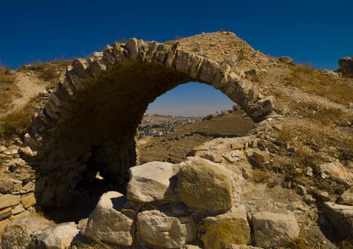 City View Under An Arch In Karak Castle, Karak, Jordan