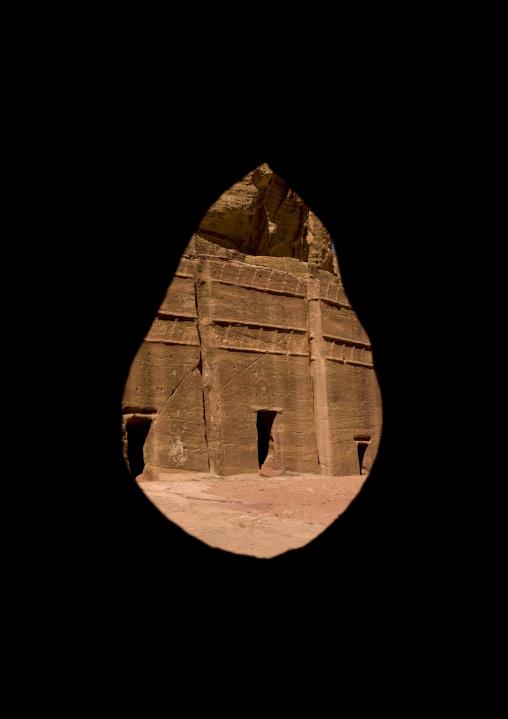 Tomb Seen Thru A Cave Hole, Petra, Jordan