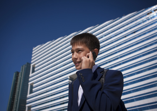 Kid On The Phone In Astana, Kazakhstan
