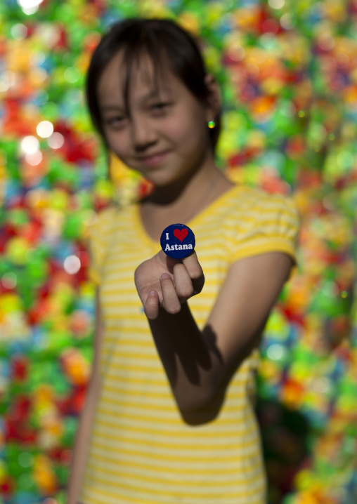 Girl Holding A 'I Love Astana' Badge, Astana, Kazakhstan