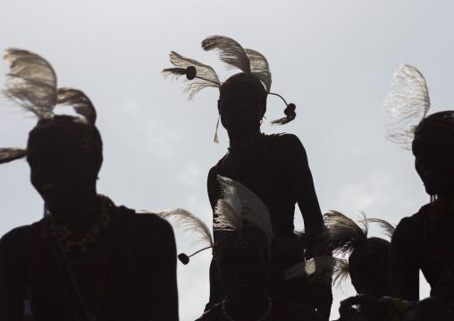 Silhouettes of turkana tribesmen, Turkana lake, Loiyangalani, Kenya