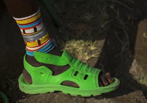 Rendille tribe green jelly shoe, Turkana lake, Loiyangalani, Kenya
