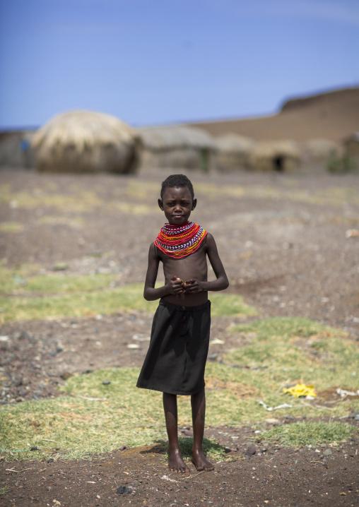 El molo tribe child girl, Turkana lake, Loiyangalani, Kenya