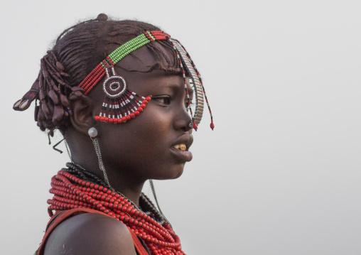 Dassanech tribe younf woman, Turkana lake, Loiyangalani, Kenya