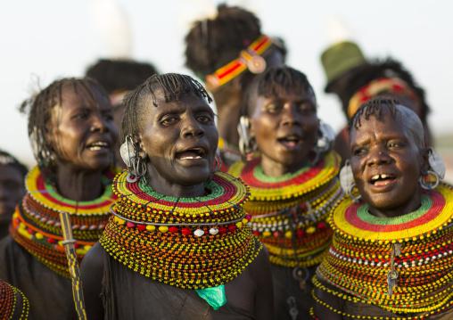 Turkana tribe women with huge necklaces, Turkana lake, Loiyangalani, Kenya