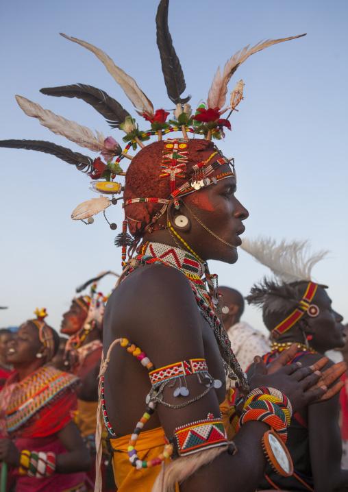 Rendille tribesman jumping, Turkana lake, Loiyangalani, Kenya