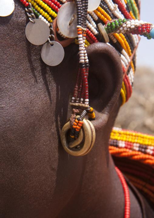 Detail of a rendille tribeswoman earring, Marsabit district, Ngurunit, Kenya