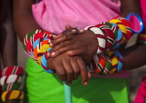 Rendille tribeswomen bracelets, Turkana lake, Loiyangalani, Kenya