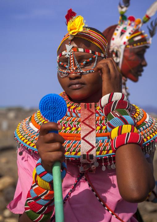 Rendille tribeswoman wearing traditional headdress and jewellery, Turkana lake, Loiyangalani, Kenya