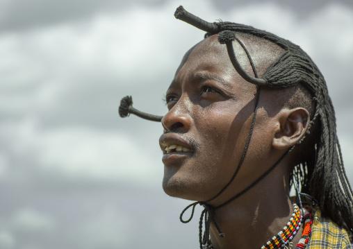 Portrait of a maasai warrior, Nakuru county, Nakuru, Kenya