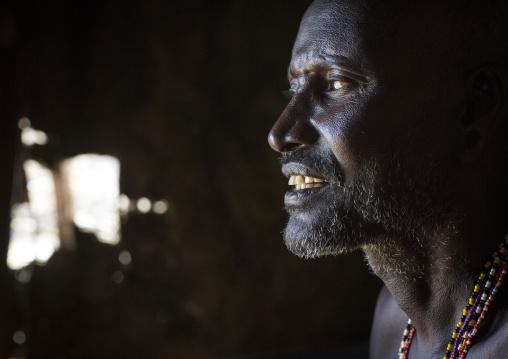 Portrait of a mature samburu tribesman, Samburu county, Samburu national reserve, Kenya