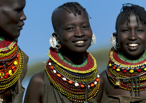 Turkana tribe women smiling, Rift Valley Province, Turkana lake, Kenya