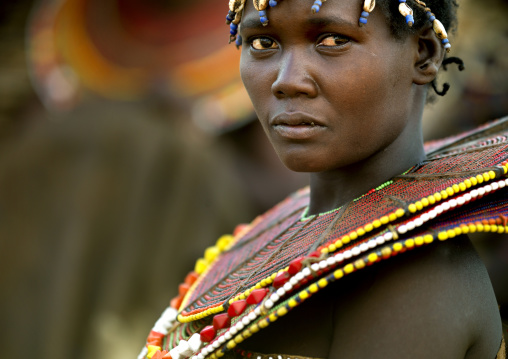 Portrait of a Pokot tribe girl wearing a huge necklace, Baringo County, Baringo, Kenya