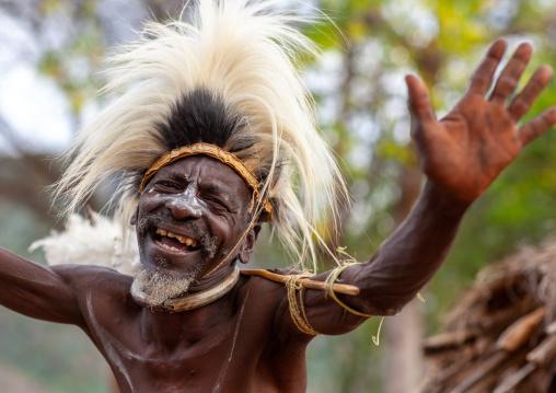 Portrait of a Tharaka tribe man dancing, Laikipia County, Mount Kenya, Kenya